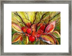 Red Autumn Berries Framed Print by Sabina Von Arx Stretched Canvas Prints, Framed Prints, Art Prints, Vegetable Painting, Soft Autumn, Creative Colour, Beautiful Paintings, Painting Techniques, Watercolor Paintings
