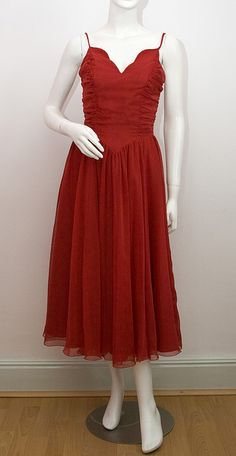 Red Ruched Chiffon Evening Dress c.1980s by @CatwalkCreative Vintage, via Flickr