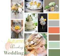"""Wedding Color Palette - Woodsy Fall colors.. I like that these are a little more pastel, seems more romantic"