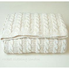 Baby Knitting Patterns Neutral Baby Blanket ' Classic Cable' Knitting pattern by Rocket Clothing London… Cable Knit Blankets, Cable Knitting, Boy Blankets, Knitted Baby Blankets, Easy Knit Baby Blanket, Easy Knitting, Mobiles En Crochet, Crochet Mobile, Baby Knitting Patterns