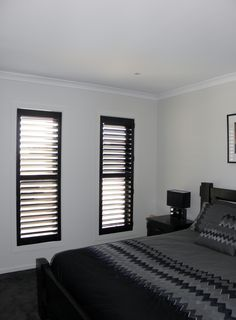 Black Plantation Shutters by Roselea Blinds. Black Shutters, Black Blinds, Interior Shutters, Contemporary Couches, Attic Bedrooms, Bedroom Wall Colors, Window Coverings
