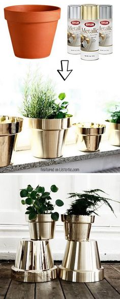 DIY Metallic Flower Pots. Spray paint the low-cost terra cotta pots in metallic colors to get an expensive look for your decor!