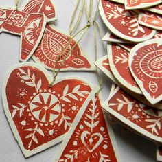 lino print tree ornaments.