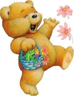 Bear with Flowers 2 Clipart, Bear Clipart, Teddy Bear Images, Teddy Bear Pictures, Animals For Kids, Cute Animals, Teddy Bear Nursery, Ted Bear, Country Bears