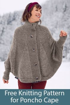 Free Knitting Pattern for Poncho Cape - Open front cape with cuffs at wrists kni. Free Knitting Pattern for Poncho Cape - Open front cape with cuffs at wrists knitted in garter stitch and stockinette in. Knitted Cape Pattern, Poncho Knitting Patterns, Knitted Poncho, Knitting Designs, Knitting Stitches, Knit Patterns, Free Knitting, Crochet Pattern, Sweaters Knitted