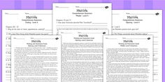 Matilda Levelled Comprehension Worksheets - stories, story books