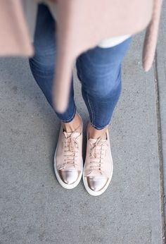 // Atlantic-Pacific: tgif // denim style // Axel Arigato rose gold sneakers #axelarigato