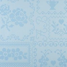 Pip Studio Wallpaper - Cross stitch in blue. Quite fancy having this in the bathroom.
