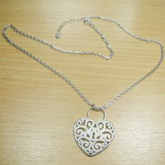 Massjewelry - Micro Pave Setting White CZ 925 Sterling Silver Heart Chain Pendant