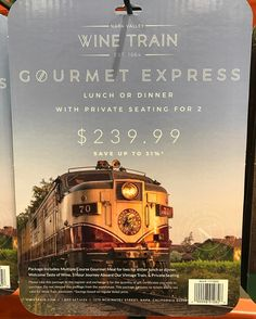Costco has discounted Wine Train tickets with my image on the package