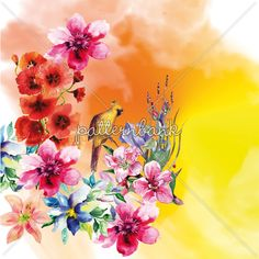 Flowers, Bird and Watercolor