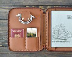 iPad Pro 9,7 inch leergeval. iPad LUCHTKAST. 9.7' iPad Pro koffer. Rits lederen folio. Handgemaakte iPad geval. Bruine kleur.