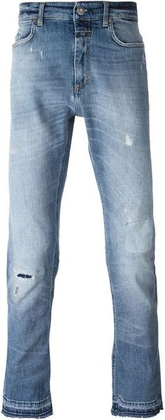 Closed mid wash distressed jeans Distressed Jeans, Stylish, Pants, Men, Shopping, Tops, Fashion, Ripped Denim Jeans, Trouser Pants