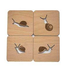 Snails Wood Cut Coasters
