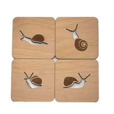 Snails Wood Cut Coasters