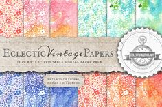 Watercolor Floral Printable Papers by Eclectic Anthology on @creativemarket