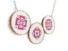 Cross stitch necklace with three melange red ornament #jewelry ethnic-style
