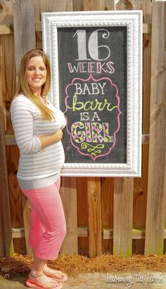 16 weeks gender reveal idea! pregnancy chalkboard tracker pregnancy