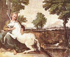 DOMENICHINO - fanciulla con unicorno - 1602 - ROMA, Palazzo Farnese