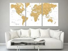 """Personalized large canvas print or push pin map, featuring a gold / ochre highly detailed world map with many cities, split in three 24x36"""" canvas prints."""
