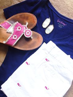 Outfit idea:  Shorts: Vineyard vines  Top: Lilly Pulitzer  Sandals: jack rogers Earrings: Kendra Scott