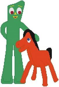 Cross Stitch Knit Crochet Plastic Canvas Waste Canvas Rug Hooking Pattern . Gumby and Pokey!    www.pinterest.com...