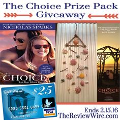 We LOVE Giveaways Hop: THE CHOICE Movie Prize Pack + $25 Gift Card Giveaway | Ends 2.15.15