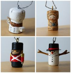 Ornaments from Wine Corks! Have each family member make one from their favorite bottle this year.