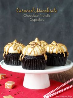 Caramel Macchiato Chocolate Nutella Cupcakes!