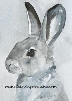ORIGINAL watercolor PAINTING Bunny in Grays 5 x 7  BOGO sale fine farm day painted hand picture pets nursery room silver pink steel blue black grey cream white animal rabbit hare children kids baby cuddly boy girl room decor