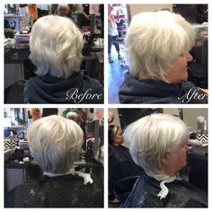 45-90 degree haircut using razor. Round brushed dry with Root Shoot, Perfect Me and Thermal Image by Wella. 10/20/16.