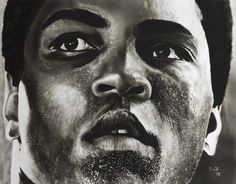 "Original oil painting ""Muhammad Ali"" Dry brush on paper by Rudy Vandecappelle of RmV Portraits Art http://rmvportraitsart.myfreesites.net/"