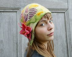 Unique felted hat  green and purple with pink flower. by filcAlki, $59.00