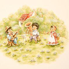 Фрагмент росписи детского гарнитура Willie-Winkie от Woodright