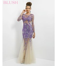 Blush 2014 Prom Dresses - Violet & Nude Tulle Long Sleeve Mermaid Prom Gown - Unique Vintage - Prom dresses, retro dresses, retro swimsuits.