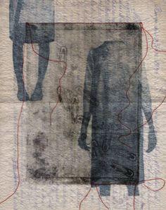 "Lotta-Pia Kallio ~ ""Kirje Porvoosta 1914"" *Letter from Porvoo 1914* Mixed media; Printing, monotype and machine embroidery on old letter | Collection: Helsinki Art Museum | Artist is Lotu on Flickr or here:  http://lottapiakallio.fi/?cat=0"
