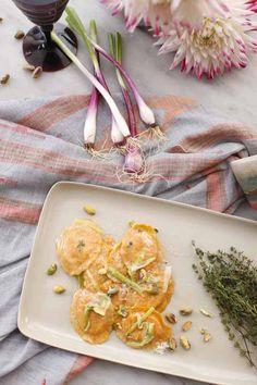 Butternut Squash Ravioli with Scallions & Pistachios - Recipe by Giovanni Rana