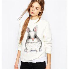 Cute Big Eyed Bunny Rabbit Sweatshirt