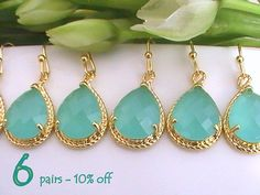 Set of 6 10% Off Wedding Jewelry, Mint Green Earrings for Bridesmaids Gift Idea, Maid of Honor Gift, Dangle Earrings, Green Wedding Idea
