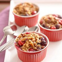 Walnut Berry-Cherry Crisp Recipe - Blueberries, flaxseeds, and oats make this fruit crisp dessert good for diabetic meal plans or just healthy eating in general.