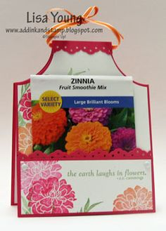 """Add Ink and Stamp: Apron/Seed card - need 11"""" x 4 1/4"""" paper. Fold in half. Use a round punch to cut out arm holes on fold line side. Adhere a pocket to the front of the stamped card, an extra piece of cardstock measuring 4 1/4"""" wide by 1 3/4"""" tall."""