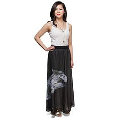 """Incorporate more bravado into your closet with this Millennium Falcon Maxi Skirt. The design's printed on a sheer layer of fabric over a white gauzy built-in slip, and it has a comfortable 2 1/2"""" tall covered elastic waistband."""