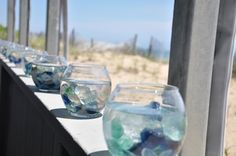 Sea glass decorations for reception