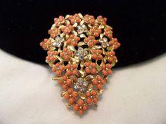 Art DECO Dress Clip Vintage Coral Lucite by AnnesGlitterBug