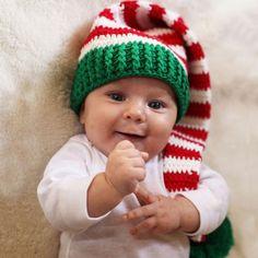 Christmas Baby Elf Crochet Stocking Hat