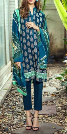 Buy Teal Blue Embroidered Marina Salwar Kameez by Bonanza 2015 Email…