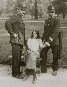 A suffragette arrested. London , late 1910s. Thanks, sister.
