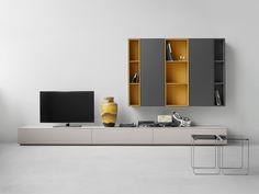 Elegant Modular Furniture by Studio Piure shelves delicate colors Tv Furniture, Modular Furniture, Cabinet Furniture, Furniture Design, Furniture Outlet, Discount Furniture, Modern Tv Cabinet, Modern Tv Wall, Tv Unit Design