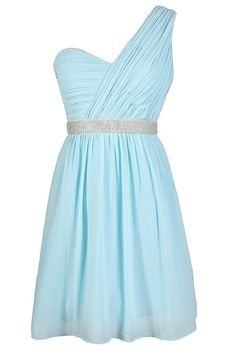 One Shoulder Pleated Chiffon Embellished Designer Dress in Sky Blue www.lilyboutique.com