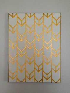 "Original Hand-Painted Acrylic Gray and Gold Chevron Arrow 18x24"" Stretched Canvas on Etsy, $60.00"